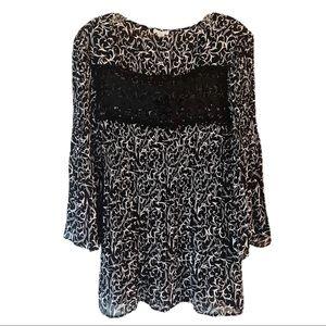 Spense Black White Print Tunic Flair Sleeves Lace
